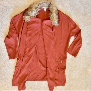 Unique Jacket with Faux Fur Collar